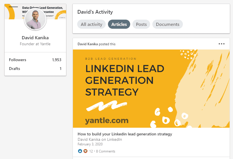 generate leads on linkedin with articles